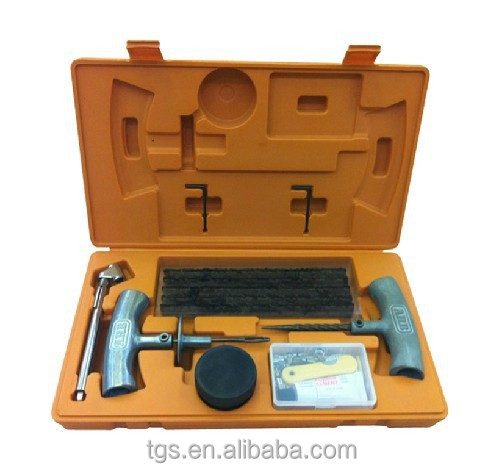 46PCS Tire repair tools kit pc-Heavy-duty metal T-handle Insert tool 1 pc-Heavy-duty metal T-handle Spiral probe Cement