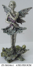 pewter ballerina figurines , pewter color with hand painting and glitter
