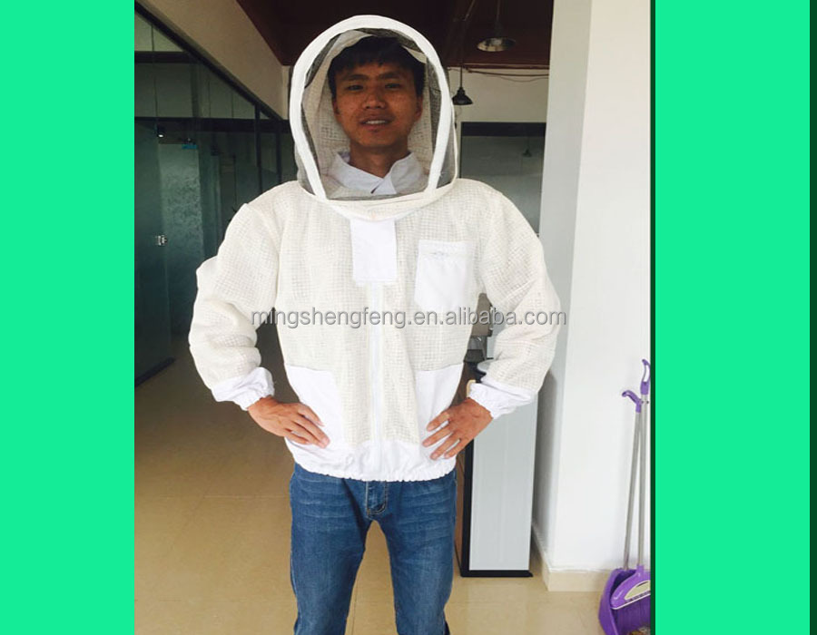 with 2017 New Overall Suit Professional Bee keeper Jacket suit Protecting Suit Fencing Veil zipper collapsible hat