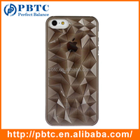 Set Screen Protector And Case For Iphone 5 , Hard Plastic Black Geometrical Pattern Diamond 3D Cover