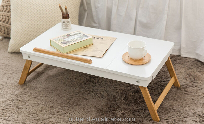 Multiple Use modern designs wooden laptop study bed tray table with drawer