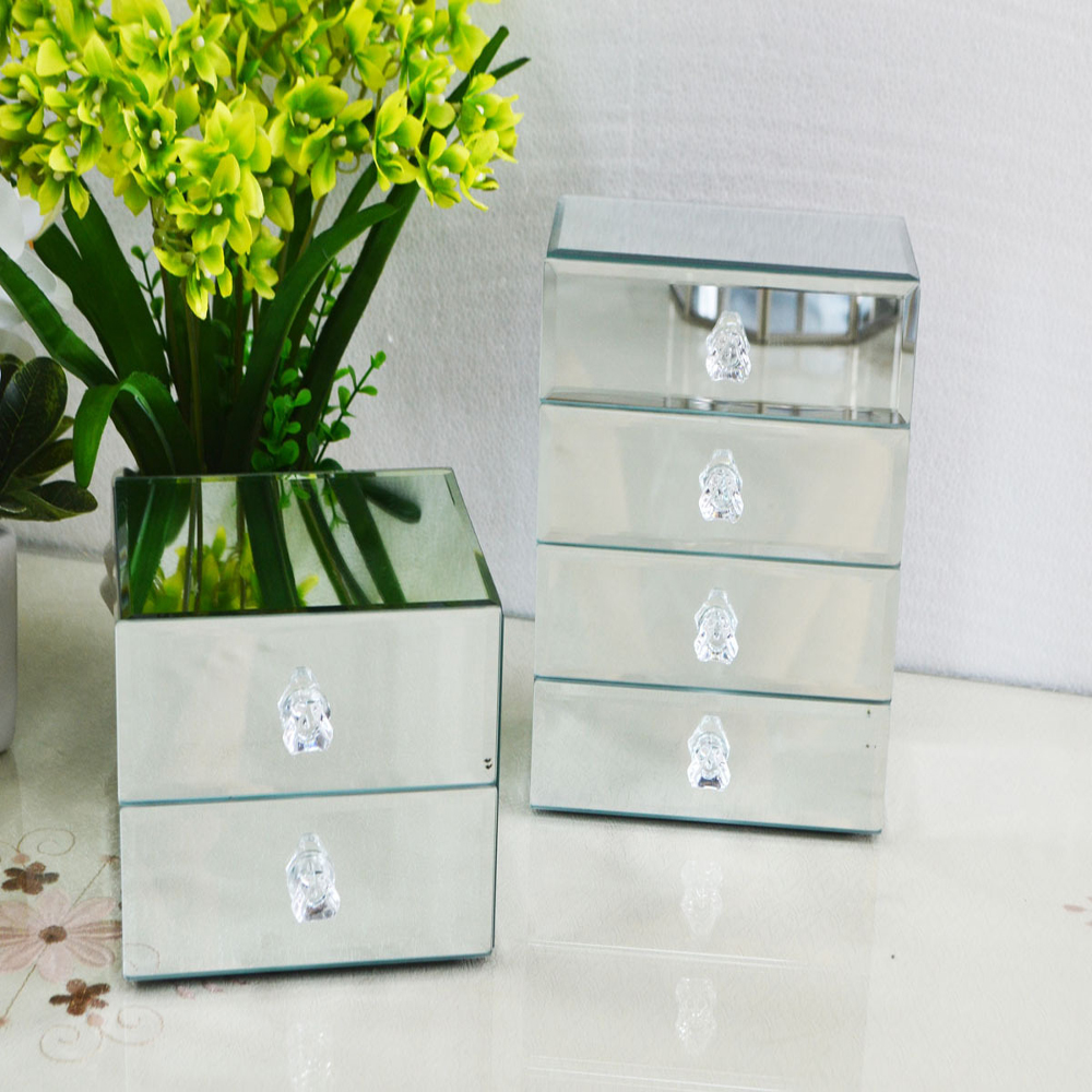 Custom Small wonderful mirrored glass jewelry storage boxes ring package