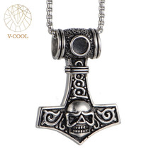 Mjolnir hammer skull head cross necklace pendant