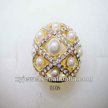 Pearl jewelry ring with crystal stone new design ring on sale