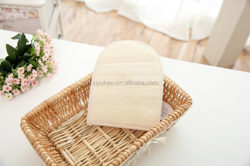 Bath washing Exfoliating loofah glove, Natural loofah wholesale, loofah sponge glove