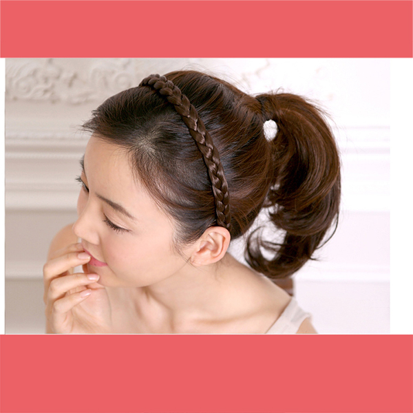 New Design Synthetic Hairpieces Braided Headband Wigs For Women 3 colors Hair Accessoires