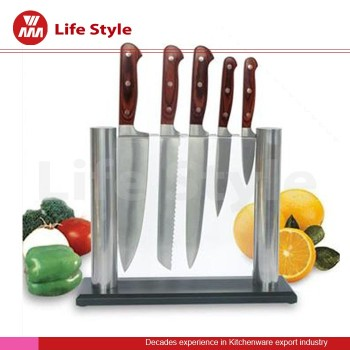 5pcs acrylic knife stand stainless steel kitchen knifes set