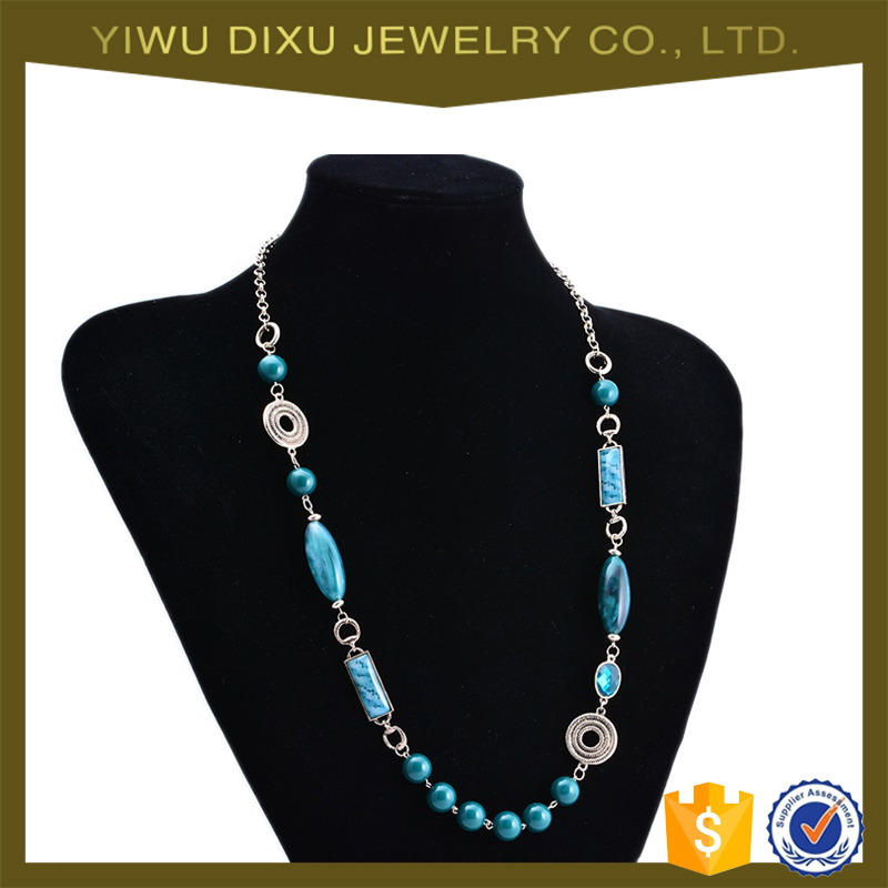 Yiwu Wholesale Women Long Necklace Fashion Sweater Chain Unique Beads Necklace
