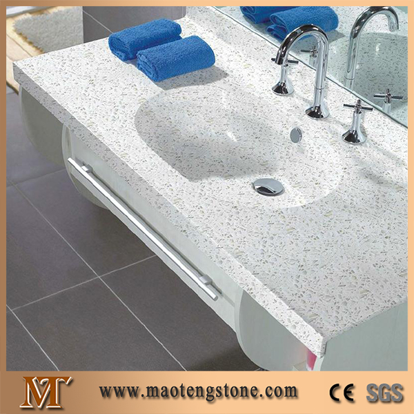 Hotel Bathroom Countertops One Piece Artificial White Quartz Vanity Tops