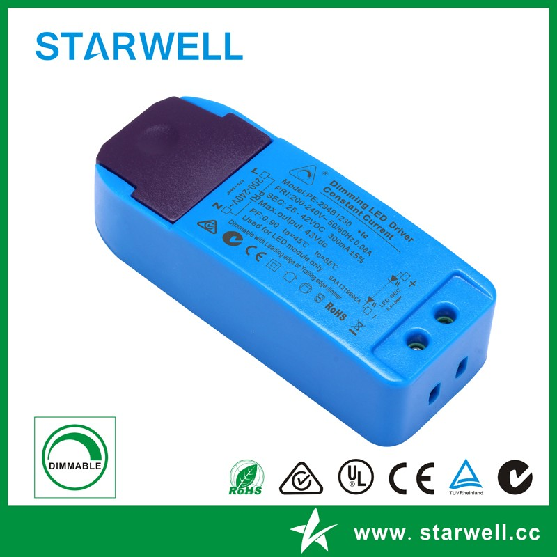 PE294B0725 IP20 plastic case type 250ma constant current dc output 7W triac dimmable led driver / led power supply