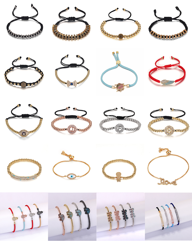 gold plated cz micro pave costume jewelry handmade charm boy  accessories  red rope bracelets bangles jewellery