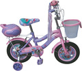 12 inch cartoon girls bicycle children bike with basket and carrier box