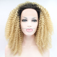 hot salea afro curly wig dark root ombre lace front wigs synthetic wig for black women heat resistant fiber