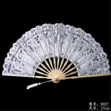 Hot sale attractive wedding shower party promotion gifts white lace fabric bamboo bone hand fan