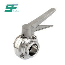 Hot sale sanitary stainless steel astm multi-standards pneunatic flange connected butterfly valve