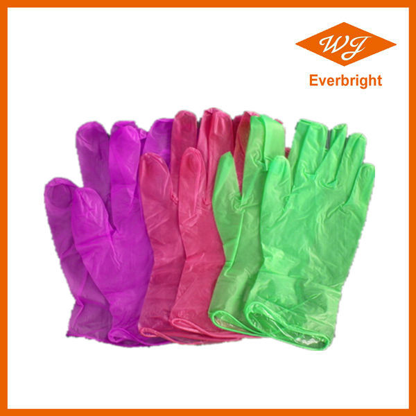 Lightly powdered red vinyl gloves with CE/ISO/FDA