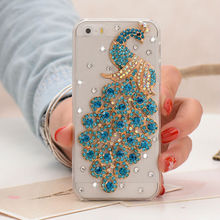 Diamond Peacock Clear Crystal Plastic Hard Case for iPhone 5 5s
