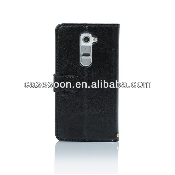 Top quality Leather Wallet Case for LG Optimus G2 Cover ,For LG G2 Leather
