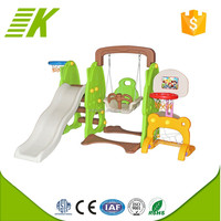 Daycare center kids swing and slide plastic swing and slide set