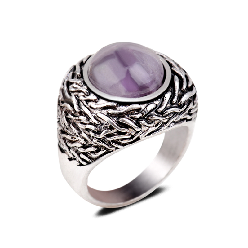 Exaggerated Gothic Vintage Gemstone Rings Natural Color Change Amethyst Round Cut Championship Solid Stone Rings For Men