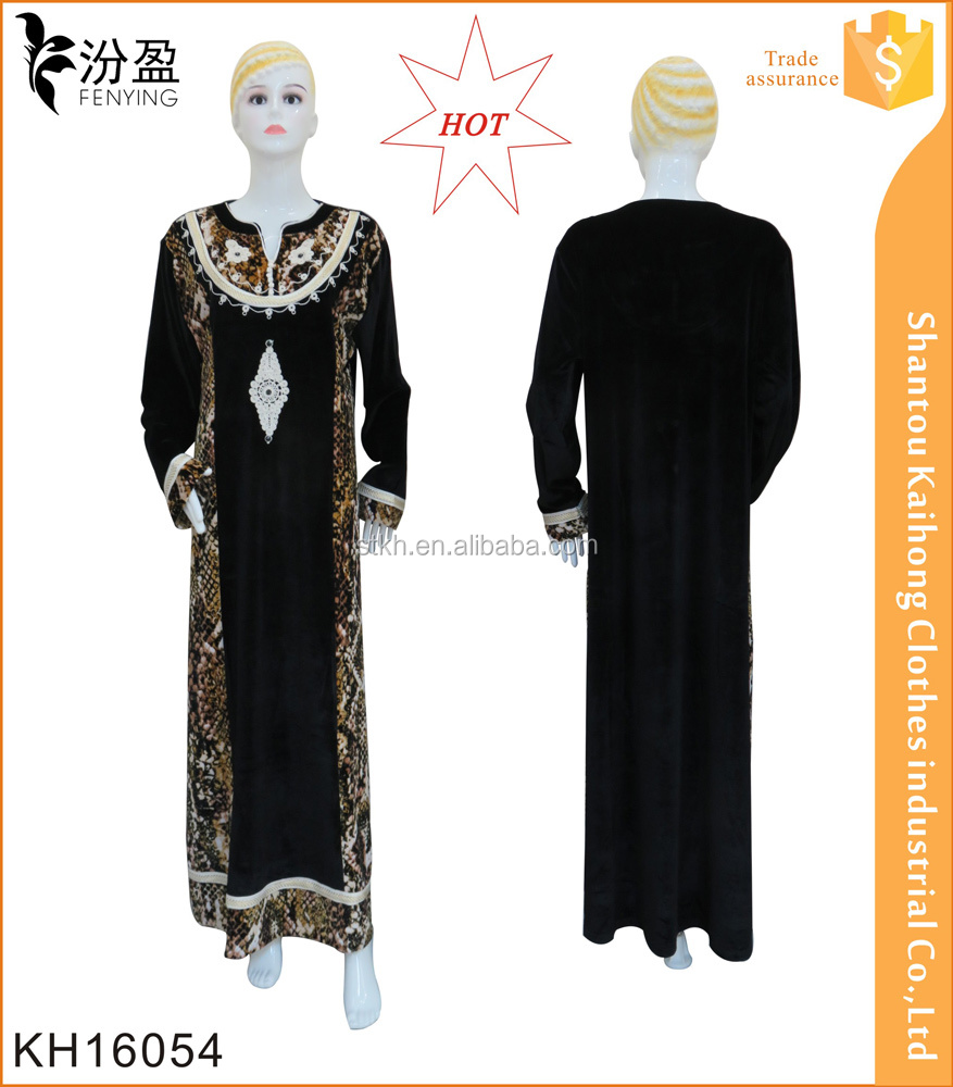 2016 latest design black abaya match print muslim long dress wholesale