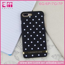 PC Plastic Gold Line Cute Wave Point Case for iPhone 7 Polka Dot Case for iPhone 7 7 plus