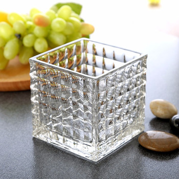 Square glass vase For Home or Wedding From China