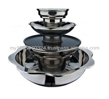 Stainless Steel 4-Tier Pagoda Steamboat with Grill