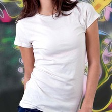Wholesale Cotton Blank O-neck Plain White T-shirts, women's casual cotton T-shirt with printing