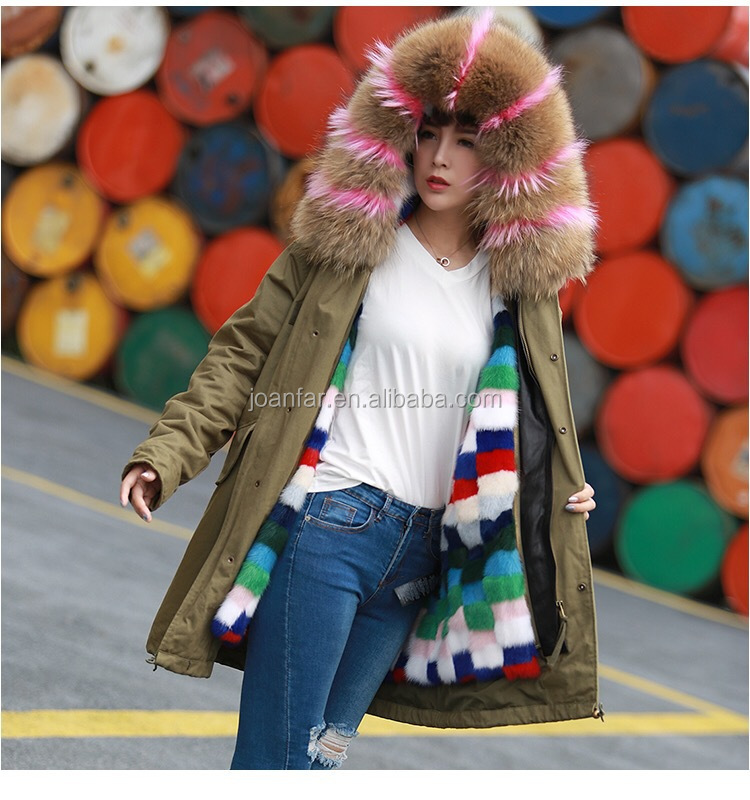 Stylish Woman real large size long and short lady Mink fur park winter overcoat with Animal fox fur/raccoon fur collar hood