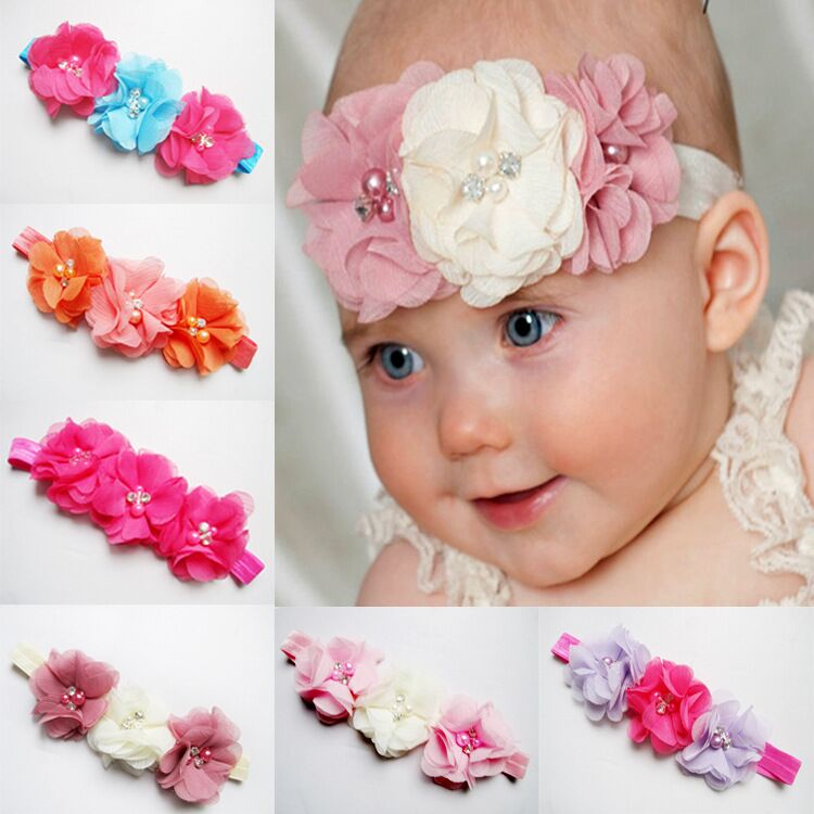 Fancy Triple Chiffon Flower Baby Girl Headbands