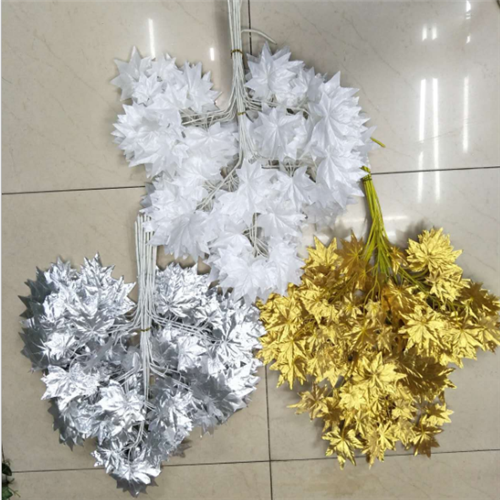 artificial white silk leaves high quality artificial white maple leaf for decor