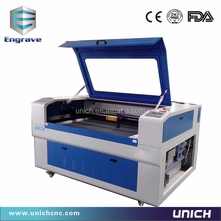 China Jinan UNICH top quality fabric,rubber,paper,acrylic,plexiglass,wooden board,plastic laser cutting and engraving machine