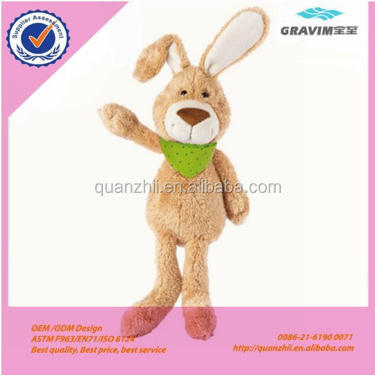 25cm The long ear rabbit doll with green scarf plush baby sleeping toys