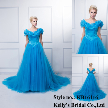 2015 hot selling ball gown blue cap sleeve flower ladies long sexy ladies western wear evening dress party gown
