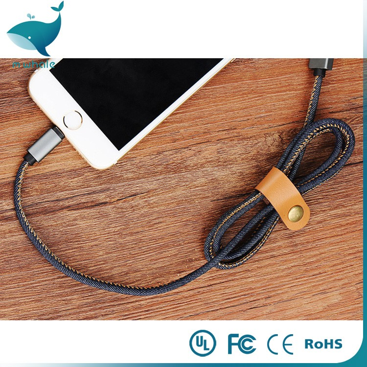 Hot sale Fashion Fast Charger 1M Leather Jean Denim USB Data Cable for iPhone
