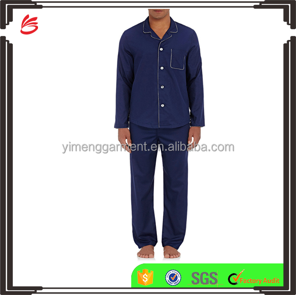 Notched collar mens sleepwear cotton pajamas boy blank leisure suit