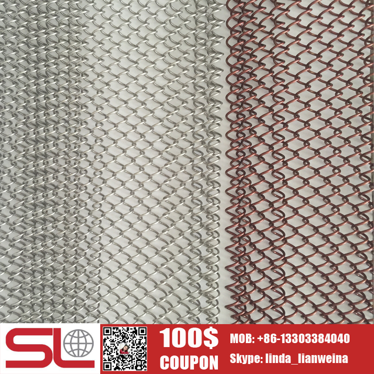 % discount Hotel Room divider red bronze metal mesh decorative screen