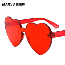 Sinle one piece lens sunglasses candy sun glasses clear heart shaped glasses clear glasses