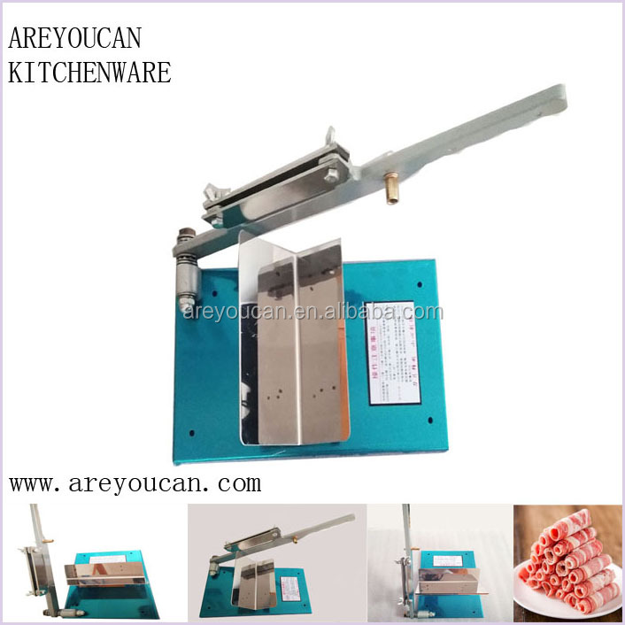 Hand operated Mutton roll Frozen beef slicer/Manual horizontal meat cutting machine with Stainless steel Blade Material