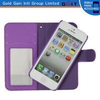 Luxury Card Holder Slot Purple Synthetic Leather Wallet Case For iPhone 5, for iphone 5 wallet case