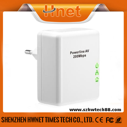 200Mbps wallmount homeplug plc powerline AV ethernet network adapter