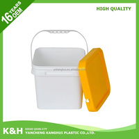 Hot selling square plastic buckets with lids 8 litre plastic square bucket cubic pail for wholesales