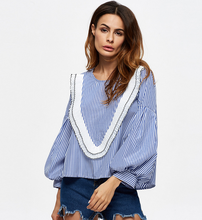 X84183A wholesale cheap striped ladies big long sleeve blouse for woman