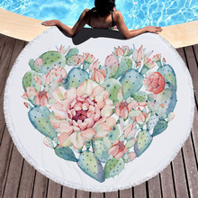 Heart Shape Printed Round Beach Towel / Microfiber Round Beach Towel