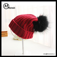 Morewin Hats Wholesale Girls' Winter Beanie Cap Hat Custom Cute Knitted Women Hats With Big Pom Pom