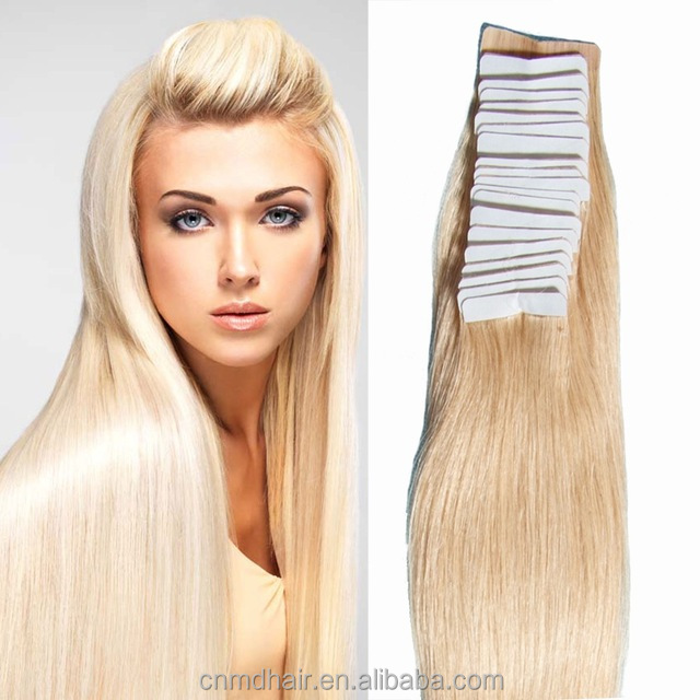 24inch 100% Skin Weft Hair Extension Remi Hair Tape Hair Extension #613 Blonde