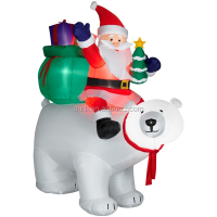 beautiful inflatable Santa riding Polar Bear outdoor Christmas decoration