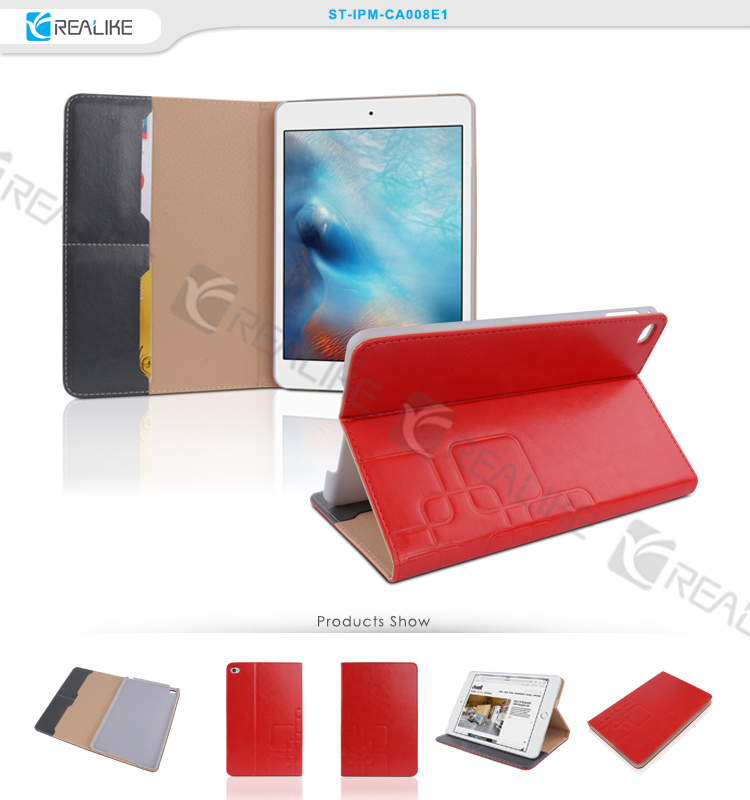 Book style many card holder design stand cover for ipad mini 4