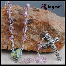 Pink Rose Tin Cut Crystal Rosary Sterling Silver Rosary Prayer